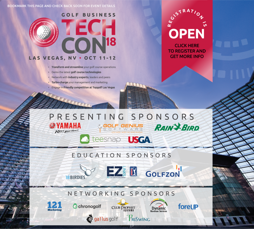 cover art for the Golf Business Tech Conference, Las Vegas. Oct. 11-12, 2018