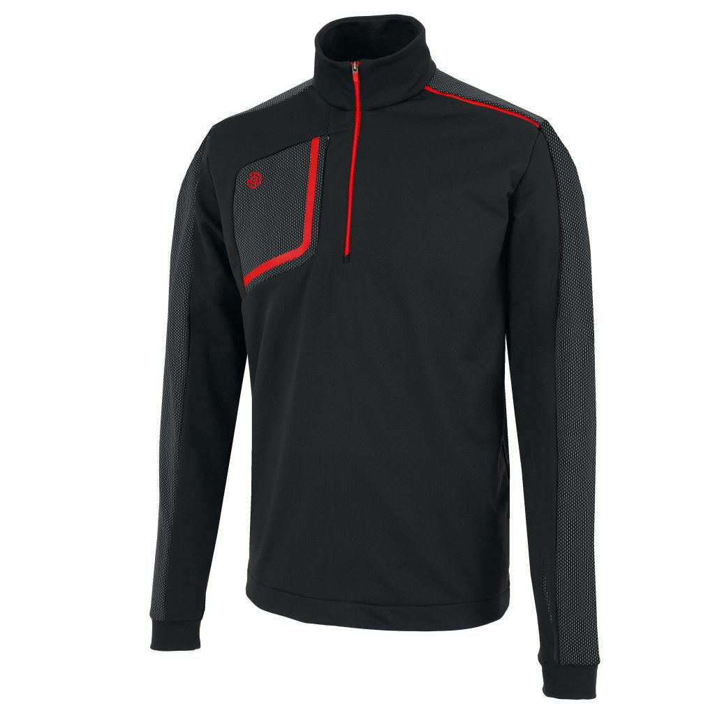 Galvin Green DWIGHT half-zip pullover in Black/Red combination