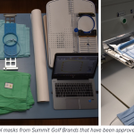 Images of prototype surgical masks from Summit Golf Brands that have been approved in Iowa County, Wisconsin