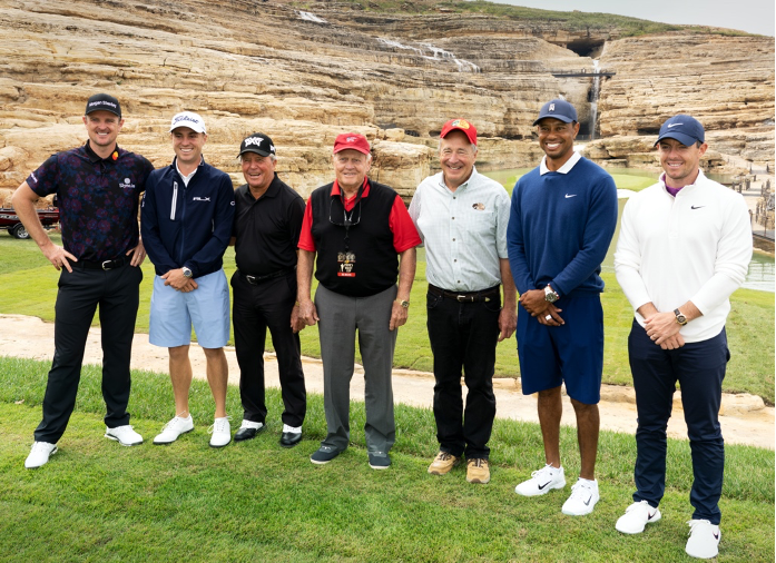 From left, Justin Rose, Justin Thomas, Gary Player, Jack Nicklaus, Johnny Morris, Tiger Woods and Rory McIlroy pictured in front of the bonus, 19th hole during the Payne's Valley Cup